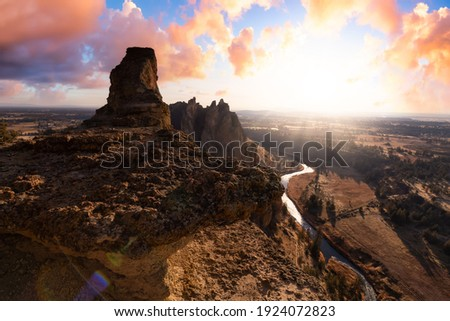Beautiful American Landscape during a vibrant winter day. Colorful Sunset Sky Art Render. Taken in Smith Rock, Redmond, Oregon, North America. Nature Background Photo stock ©