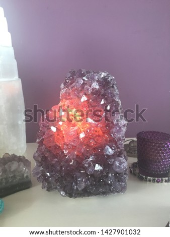 Beautiful Amethyst Lamp with bulb #1427901032