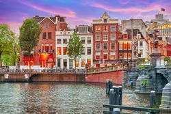 Beautiful Amsterdam city at the evening time. Netherlands