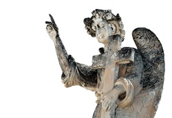Beautiful ancient angel funerary statue isolated on white. From Avola, Sicily.
