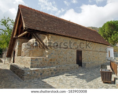 Beautiful ancient barn roof church, UNESCO world heritage, Cyprus, South Europe #183903008
