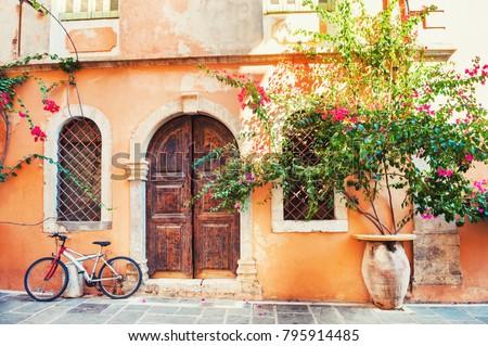 Beautiful ancient building in Chania, Crete island, Greece.