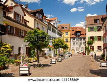 Beautiful ancient city Meersburg at lake Bodensee - stock photo