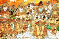 beautiful ancient Hindu 0God and Goddess  Painted on wall