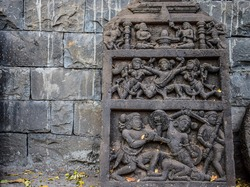 Beautiful ancient ruined archeological sculpture art ,Constructed using gray stone in India.