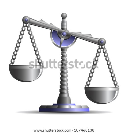 Beautiful ancient scales of justice isolated on white background