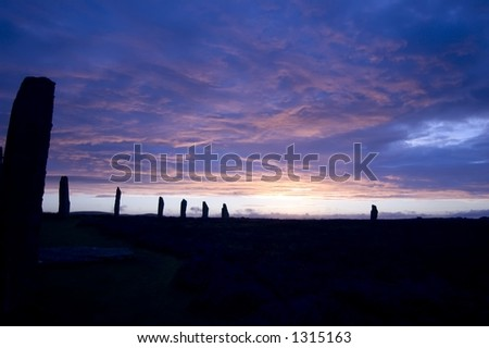 Beautiful and charming sunset at Ring of Brodgar, stone circle in Orkney's, Scotland