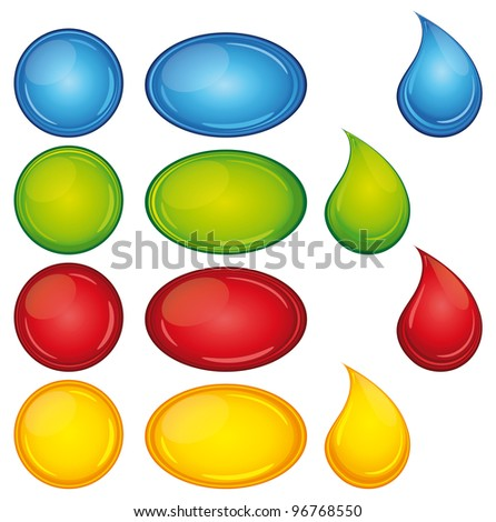 Beautiful and colorful buttons and droplets set.