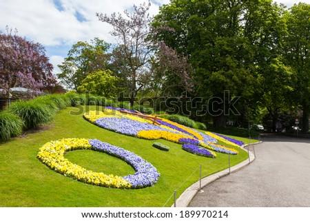 Beautiful and colorful floral clock in geneva switzerland - Swiss horology symbol