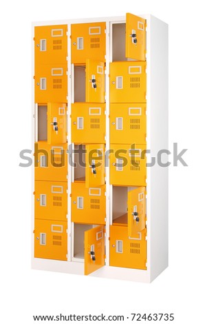 Beautiful and colorful locker in bright orange fit gyms room school train station or other places