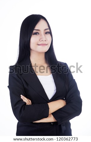 Beautiful and confident businesswoman isolated over white