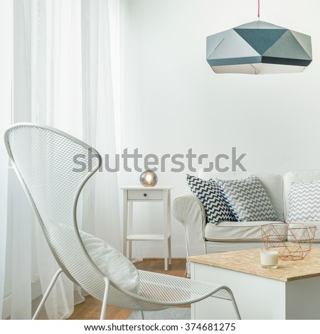 Beautiful and cozy living room in the apartment