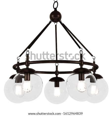 Beautiful and dear chandelier on a white background. chandelier loft style.
