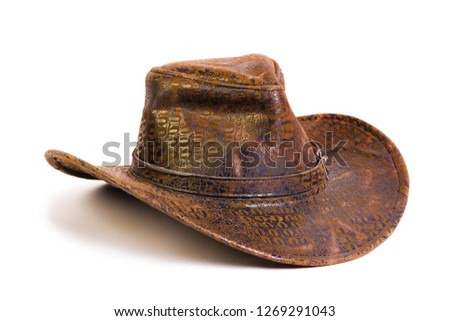 Beautiful and diverse subject. Beautiful and original look and background on an interesting brown cowboy hat on a white isolated background.