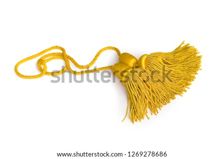 Beautiful and diverse subject. Beautiful and stylish, expensive solid edging, guard and yellow and gold rope for ceremonies, carnivals and parades on a white isolated background. #1269278686