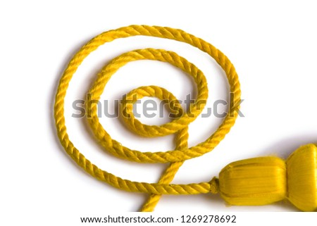Beautiful and diverse subject. Beautiful and stylish, expensive solid edging, guard and yellow and gold rope for ceremonies, carnivals and parades on a white isolated background. #1269278692