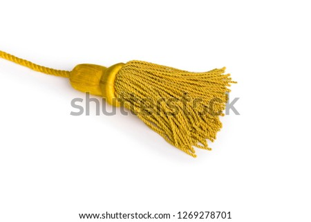 Beautiful and diverse subject. Beautiful and stylish, expensive solid edging, guard and yellow and gold rope for ceremonies, carnivals and parades on a white isolated background. #1269278701