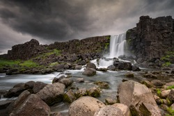 Beautiful and dramatic Oxarafoss waterfalls in Iceland