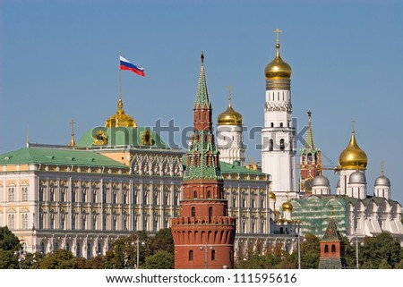Beautiful and Famous view of Moscow Kremlin Palace and Churches, Russia