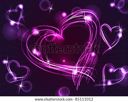 Beautiful and fun hand drawn purple plasma or neon hearts intersecting with different light effects, perfect for Valentine's day or other love celebration.