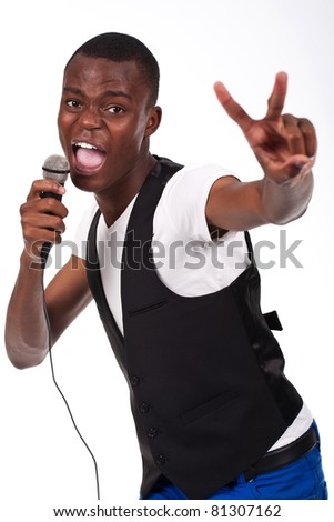 beautiful and handsome black man singing