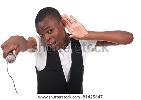 beautiful and handsome black man singing with hand on his ear