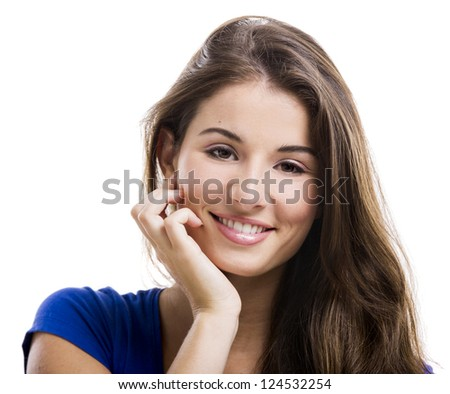 Beautiful and happy young woman isolated over a white background