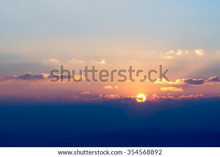 beautiful and heavenly sunrise in the mountains landscape, Northern of Thailand #354568892