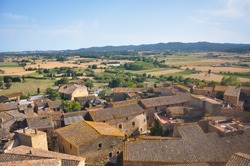 Beautiful and historical city of Girona, viewed from above, countryside region of Spain