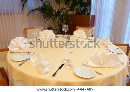 Beautiful and luxurious table setting in the restaurant