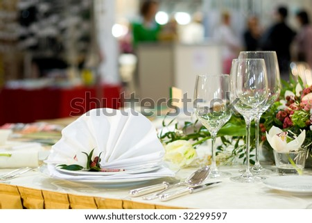 stock photo Beautiful and Luxurious Wedding Table Setting