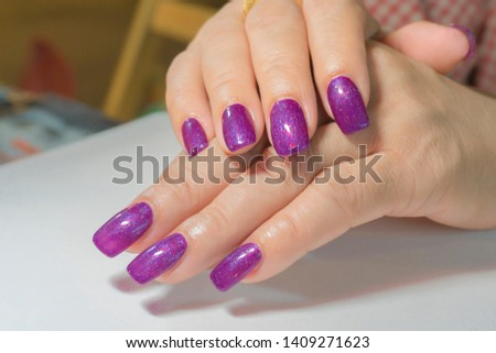 beautiful and luxury dark purple gel nail art on fahionista woman  square shape acrylic extension fingernail