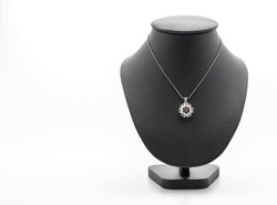 beautiful and luxury necklace with jewelry stand neck on white