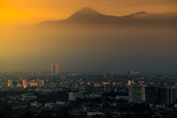 Beautiful and mistical Bandung City, the capital city of West java Province, Indonesia in the morning.