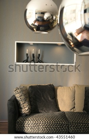 Beautiful and modern room interior design. Hotel and home furnishing. - stock photo