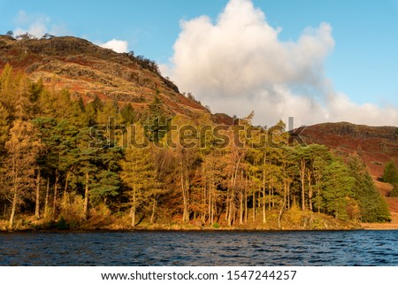 Beautiful and moody morning fall light at Blea Tarn in the English Lake District with views of the Langdale Pikes, and Side Pike during autumn. #1547244257