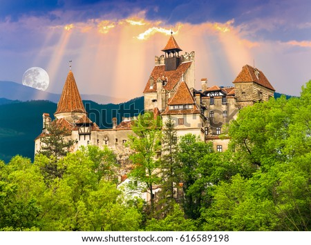 Beautiful and old architecture of the famous Dracula castle in Bran town. Medieval building of Transylvania in Europe, Romania