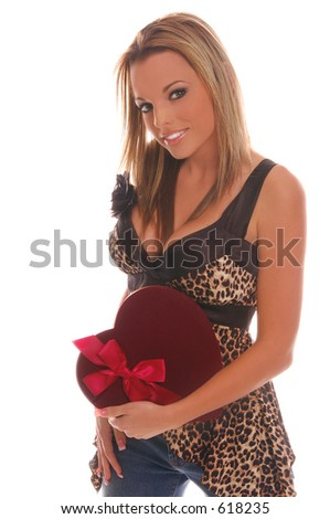 stock photo beautiful and sexy fashion model holding a velvet box of valentine s day chocolates 618235 Late Night With Elaine   A Short and Sweet Sex Story is available for ...