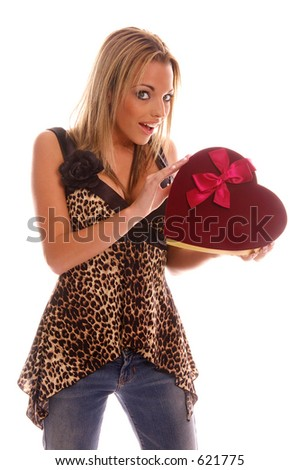 stock photo beautiful and sexy fashion model holding a velvet box of valentine s day chocolates 621775 Close up portrait of a fresh and beautiful young fashion model
