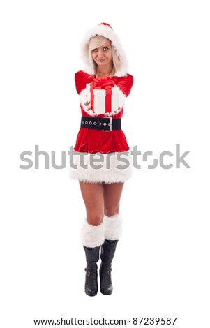 Beautiful and sexy woman wearing santa clause costume with giftbox