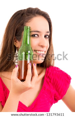 Beautiful and sexy young woman drinking beer, isolated on white