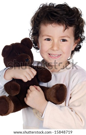 beautiful and smiling child with brown teddy bear