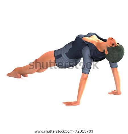 beautiful and sportive girl does a yoga lessen. 3D rendering over a simple background