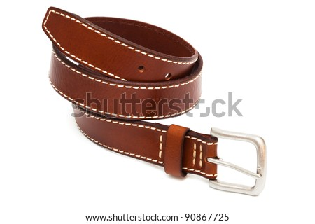beautiful and the leather belt on a white background - stock photo