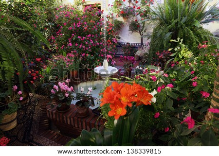 Beautiful andalusian patio with fountain in Cordoba, Andalusia Spain