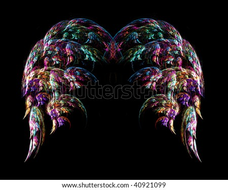 Beautiful angel wing abstract over black background