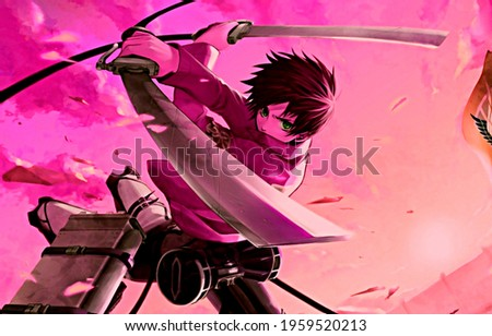 Beautiful anime boy holding swords in his hands