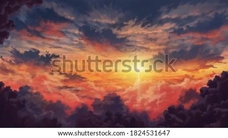 Beautiful Anime Evening Clouds Background Landscape Illustration
