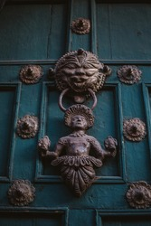 Beautiful antique colonial era door in Peru