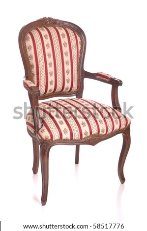 beautiful antique padded chair isolated on white background